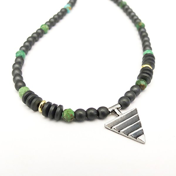 Delta on Hematite Turquoise and 18ct beads