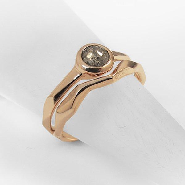 Rose Gold Rocky Engagement Wedding Ring